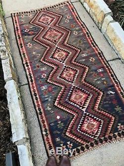 3x7 Persian Tribal Boho Vintage Handmade Wool Anatolian Kurdish Kilim Runner Rug