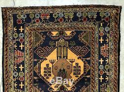 3x9 BLUE PERSIAN RUNNER RUG CAUCASIAN ANTIQUE HAND KNOTTED heriz serapi vintage