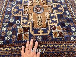 3x9 BLUE VINTAGE WOOL RUNNER HAND-KNOTTED oriental handmade antique rug carpet