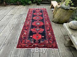 3x9 Persian Tribal Runner Blue Red Vintage Rug #402