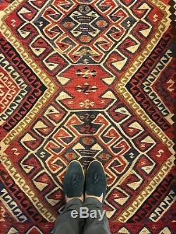 4X6 VINTAGE HANDMADE WOOL ANTIQUE PERSIAN Authentic FLAT WEAVE Kurdish KILIM Rug