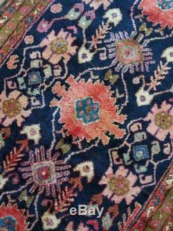 4.0 x 8.6 Antique Vintage Quality Bijar Persian Rug Decorative Geometric Design