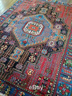 4.6 x 6.4 Antique Bijar Heriz Rug Vintage Serapi Kazak Caucasian Design