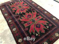 4x6 BLACK HAND KNOTTED PERSIAN RUG WOOL red oriental vintage caucasian heriz 3x6