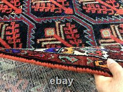 4x6 BLUE ANTIQUE WOOL RUG HAND KNOTTED dark oriental vintage HANDMADE handwoven