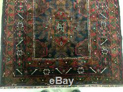 4x6 BLUE VINTAGE WOOL RUG HAND KNOTTED GEOMETRIC oriental handmade runner 4x7 ft