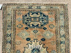 4x6 MUTED ANTIQUE WOOL RUG HAND-KNOTTED geometric oriental vintage handmade 4x7