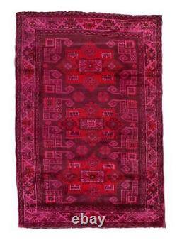 4x6 Overdyed Vintage Kazak Hot Pink Rug 2645