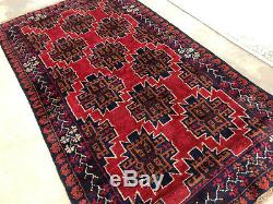 4x6 RED HAND KNOTTED PERSIAN RUG WOOL oriental woven blue geometric vintage rugs