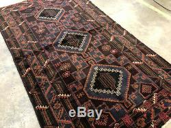 4x6 VINTAGE HAND KNOTTED PERSIAN RUG WOOL ANTIQUE caucasian brown 4x7 3x7 3x6 ft