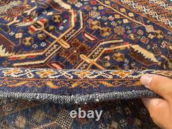 4x6 VINTAGE ORIENTAL RUG HAND-KNOTTED WOOL dark blue antique tribal fine carpet