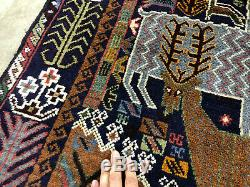 4x6 VINTAGE PERSIAN RUG HAND KNOTTED PICTORIAL hunting tree of life handmade 4x7
