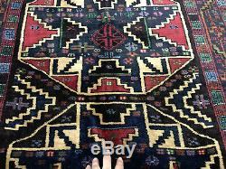 4x6 VINTAGE PERSIAN RUG HAND KNOTTED WOOL GEOMETRIC heriz oriental handmade rugs