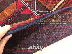 4x6 VINTAGE RUG HAND-KNOTTED wool oriental geometric handmade blue kazak 3x6 ft