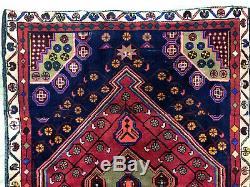4x6 VINTAGE WOOL RUG HAND KNOTTED ANTIQUE handmade oriental dark blue purple 4x5