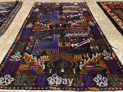 4x7 ANTIQUE RUG HAND KNOTTED WOOL vintage oriental blue pictorial carpet 4x6 ft