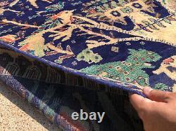 4x7 BLUE VINTAGE RUG HAND-KNOTTED WOOL oriental handmade tribal carpet fine 4x6
