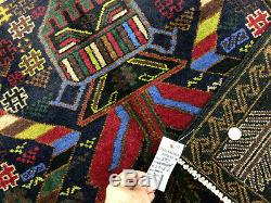 4x7 GEOMETRIC PERSIAN RUG HAND KNOTTED WOOL vintage oriental blue carpet 4x6 ft