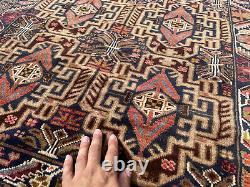 4x7 HANDMADE WOOL RUG VINTAGE BLUE HAND-KNOTTED oriental antique geometric 4x6