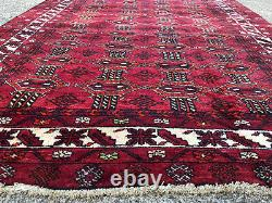 4x7 RED VINTAGE RUG HAND-KNOTTED WOOL oriental geometric handmade carpet 4x8 ft