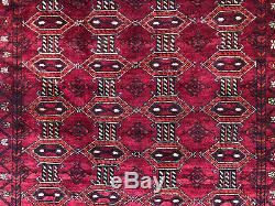 4x7 RED VINTAGE RUG HAND KNOTTED WOOL oriental geometric handmade carpet 4x8 ft