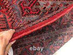 4x7 VINTAGE RUG HAND-KNOTTED WOOL antique geometric red tribal handmade oriental