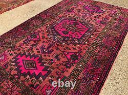 4x7 VINTAGE RUG HAND-KNOTTED WOOL oriental handmade purple magenta pink 5x7 5x8