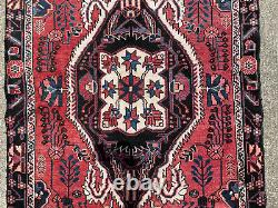 4x8 RED ANTIQUE WOOL RUG HANDMADE VINTAGE HAND-KNOTTED oriental carpet blue 4x7
