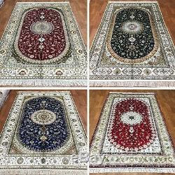 5'x8' Red Green Blue Exquisite Silk Hand Knotted Persian Oriental Area Rug 146NC
