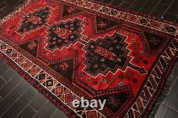 5' x 8'6'' Vintage Hand Knotted Wool Shirazz Tribal Oriental Area Rug Orange