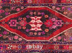 5x10 VINTAGE RUG HAND-KNOTTED WOOL oriental handmade purple magenta pink 5x9 6x9