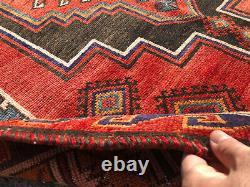 5x6 RED VINTAGE RUG HAND-KNOTTED wool oriental antique handmade caucasian kazak