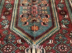 5x7 ANTIQUE HAND KNOTTED WOOL RUG vintage handmade oriental geometric blue 4x6