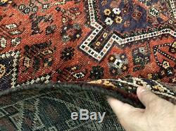 5x7 ANTIQUE RUG HAND KNOTTED WOOL VINTAGE heriz oriental geometric handmade 5x6