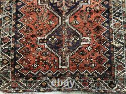 5x7 ANTIQUE RUG HAND KNOTTED WOOL VINTAGE oriental geometric handmade tribal 5x6