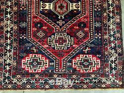 5x7 ANTIQUE RUG HAND KNOTTED wool handmade red blue geometric vintage carpet 4x6