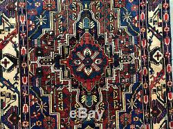 5x7 VINTAGE RUG HAND KNOTTED wool GEOMETRIC handmade blue tribal antique 4x6 ft