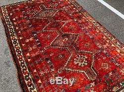 5x7 VINTAGE RUG HAND KNOTTED wool red oriental handmade geometric colorful 5x8