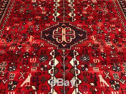 5x7 VINTAGE RUG WOOL ANTIQUE HAND KNOTTED oriental handmade geometric red heriz