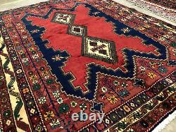 5x7 VINTAGE WOOL RUG HAND KNOTTED geometric oriental antique red tribal handmade