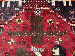 5x7 VINTAGE WOOL RUG HAND-KNOTTED oriental handmade antique kazak caucasian 5x8
