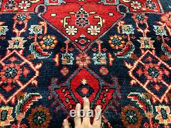 5x8 BLUE VINTAGE RUG WOOL HAND-KNOTTED oriental HANDMADE geometric antique 5x9