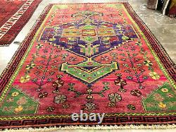 5x8 VINTAGE RUG HAND KNOTTED WOOL antique handmade caucasian tribal oriental red
