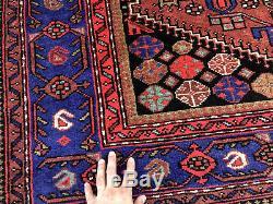 5x8 VINTAGE RUG HAND KNOTTED geometric wool oriental antique handmade blue 5x7