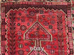 5x8 VINTAGE RUG WOOL antique HAND-KNOTTED geometric handmade oriental pink 5x9