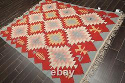 6'4 x 7'10 Vintage Hand Woven Kilim Southwestern Oriental Area Rug Teracotta