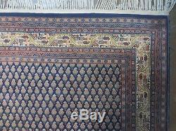 6' X 9' Vintage Persian Hand Made MIR Sarouk SARABAND BOTEH Wool Rug Blue Nice