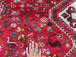 6x10 VINTAGE RUG HAND-KNOTTED WOOL ANTIQUE oriental caucasian handwoven 6x9 7x10