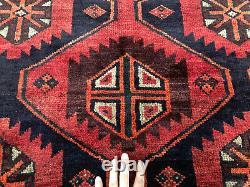 6x7 VINTAGE WOOL RUG HAND KNOTTED antique geometric handmade oriental 5x6 5x7 ft