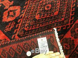 6x8 VINTAGE RUG HAND KNOTTED WOOL geometric handmade red black oriental 7x8 6x9